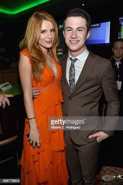 Actors Bella Thorne and Dylan Minnette attend the after party for The World Premiere of Disney's 'Alexander and the Terrible Horrible No Good Very...