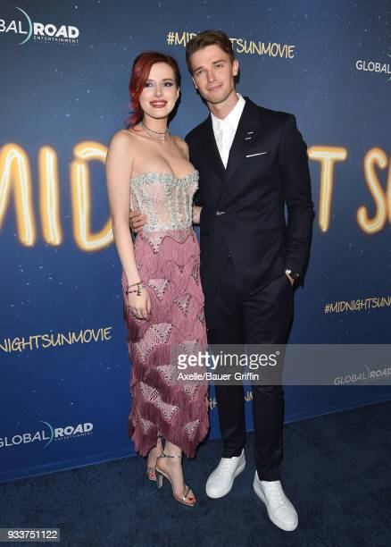 Actors Bella Thorne and Patrick Schwarzenegger attend Global Road Entertainment's world premiere of 'Midnight Sun' at ArcLight Hollywood on March 15...