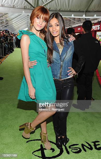 Actors Bella Thorne and Pia Mia arrive at Walt Disney Presents The Premiere of 'The Muppets' at El Capitan Theatre on November 12 2011 in Los Angeles...