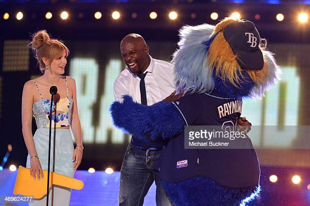 Actors Bella Thorne and Terry Crews and Tampa Bay Rays mascot Raymond onstage during Cartoon Network's fourth annual Hall of Game Awards at Barker...