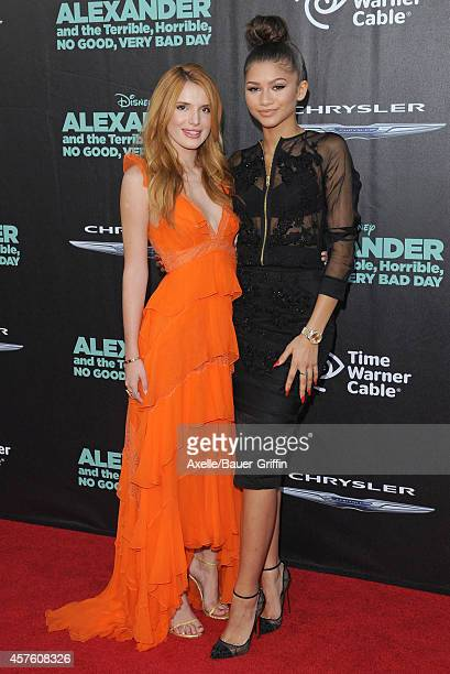 Actors Bella Thorne and Zendaya arrive at the Los Angeles Premiere of 'Alexander And The Terrible Horrible No Good Very Bad Day' at the El Capitan...