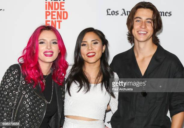 Actors Bella Thorne Anna Akana and Nash Grier attend the premiere of Netflix's 'You Get Me' at the 2017 Los Angeles Film Festival at the ArcLight...