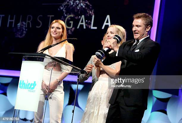 Actors Bella Thorne Dove Cameron and Michael Welch speak onstage during the 6th Annual Thirst Gala at The Beverly Hilton Hotel on June 30 2015 in...