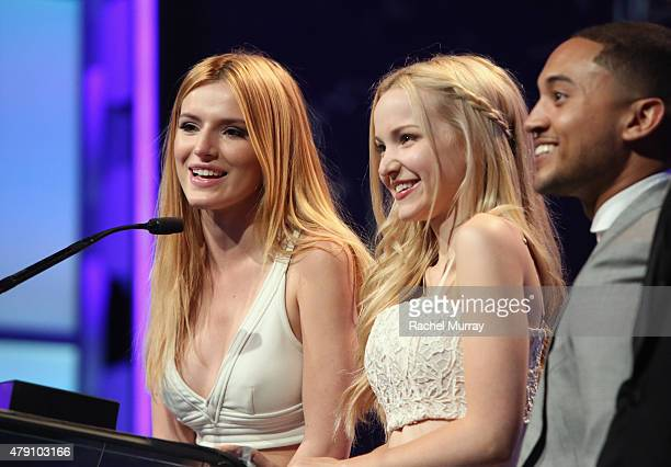Actors Bella Thorne Dove Cameron and Tahj Mowry speak onstage during the 6th Annual Thirst Gala at The Beverly Hilton Hotel on June 30 2015 in...