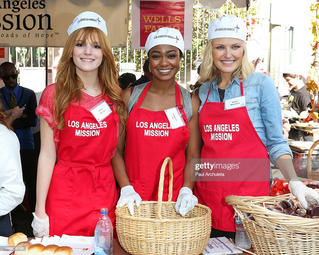 Actors Bella Thorne, Tatyana Ali and Malin Akerman attend the Los Angeles Mission Thanksgiving Dinner at Los Angeles Mission on November 21, 2012 in Los Angeles, California.