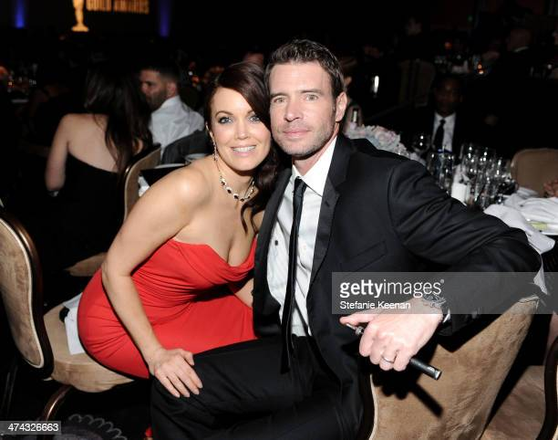 Actors Bellamy Young and Scott Foley attend the 16th Costume Designers Guild Awards with presenting sponsor Lacoste at The Beverly Hilton Hotel on...