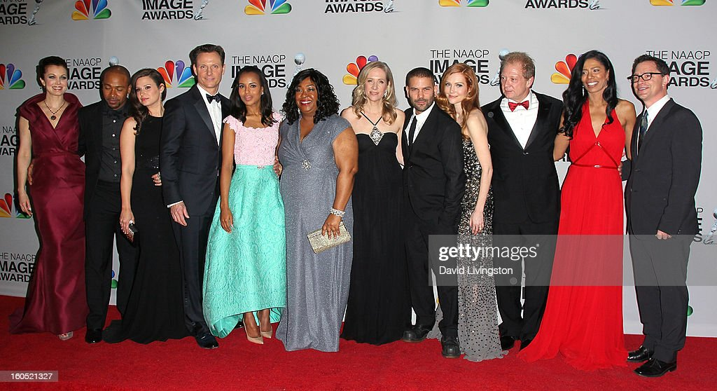 Actors Bellamy Young, Columbus Short, Katie Lowes, Tony Goldwyn, Kerry Washington, writer/creator/executive producer Shonda Rhimes, executive producer Betsy Beers, actors Guillermo Diaz, Darby Stanchfield and Jeff Perry, co-executive producer Judy Smith and actor Joshua Malinapose at the press room at the 44th NAACP Image Awards at the Shrine Auditorium on February 1, 2013 in Los Angeles, California.