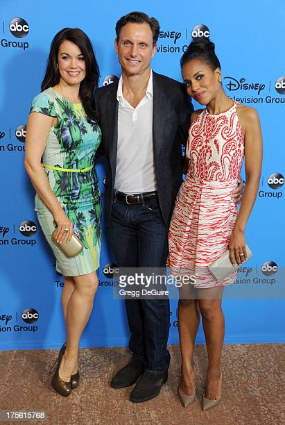 Actors Bellamy Young Tony Goldwyn and Kerry Washington arrive at the 2013 Disney/ABC Television Critics Association's summer press tour party at The...