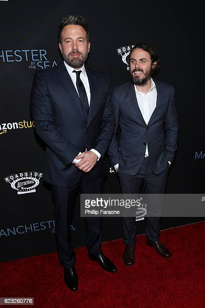 Actors Ben Affleck and Casey Affleck attend the premiere of Amazon Studios' Manchester By The Sea at Samuel Goldwyn Theater on November 14 2016 in...