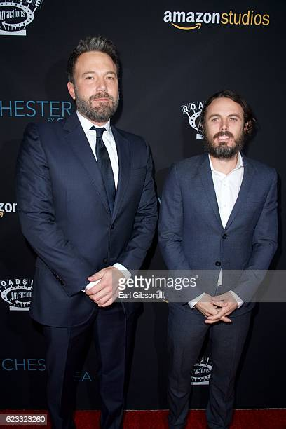 Actors Ben Affleck and Casey Affleck attend the Premiere Of Amazon Studios Manchester By The Sea at Samuel Goldwyn Theater on November 14 2016 in...