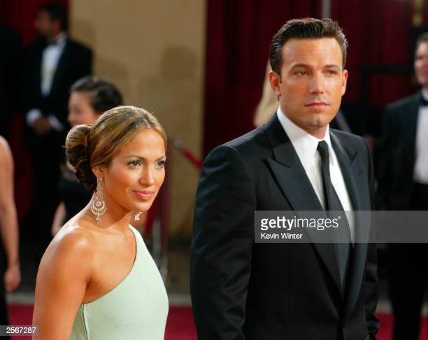 Actors Ben Affleck and fiancee Jennifer Lopez attend the 75th Annual Academy Awards at the Kodak Theater on March 23, 2003 in Hollywood, California....