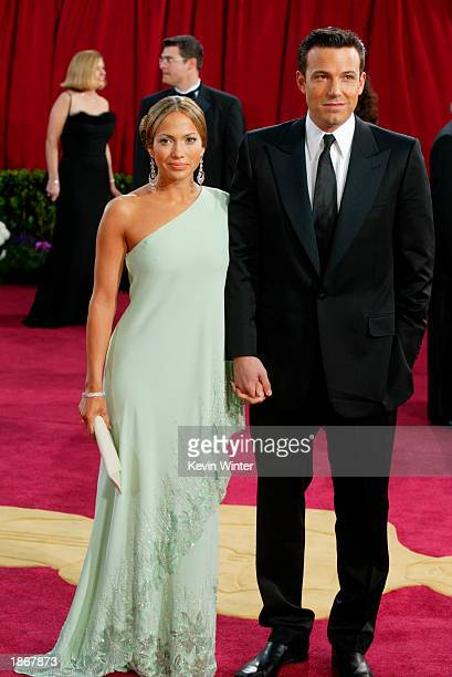 Actors Ben Affleck and fiancee Jennifer Lopez, wearing Harry Winston jewelry, attends the 75th Annual Academy Awards at the Kodak Theater on March...