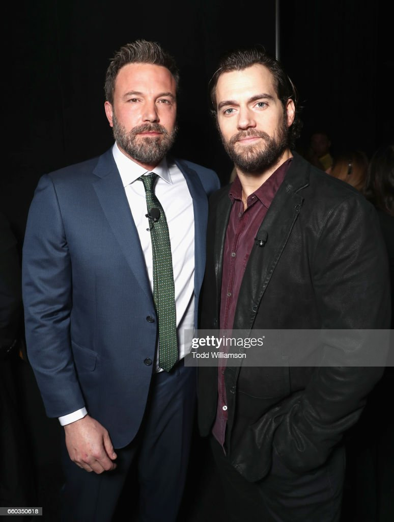 "Actors Ben Affleck (L) and Henry Cavill at CinemaCon 2017 Warner Bros. Pictures Invites You to ""The Big Picture"", an Exclusive Presentation of our Upcoming Slate at The Colosseum at Caesars Palace during CinemaCon, the official convention of the National Association of Theatre Owners, on March 29, 2017 in Las Vegas, Nevada."