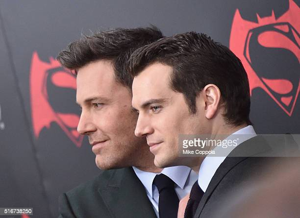 Actors Ben Affleck and Henry Cavill attend The 'Batman V Superman Dawn Of Justice' New York Premiere at Radio City Music Hall on March 20 2016 in New...