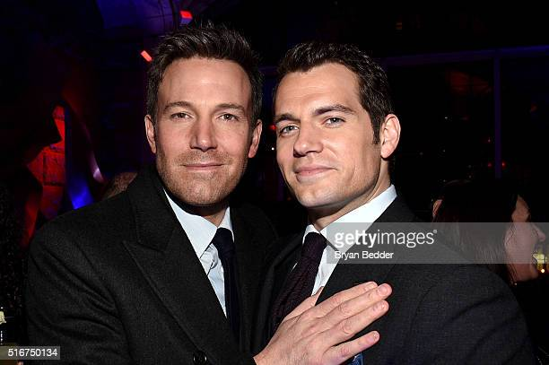 Actors Ben Affleck and Henry Cavill attend the launch of Bai Superteas at the Batman v Superman Dawn of Justice Premiere Party on March 20 2016 in...