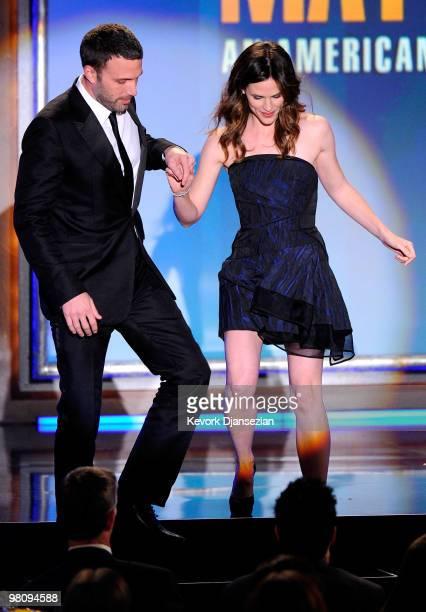 Actors Ben Affleck and Jennifer Garner speak onstage during American Cinematheque 24th Annual Award Presentation To Matt Damon at The Beverly Hilton...