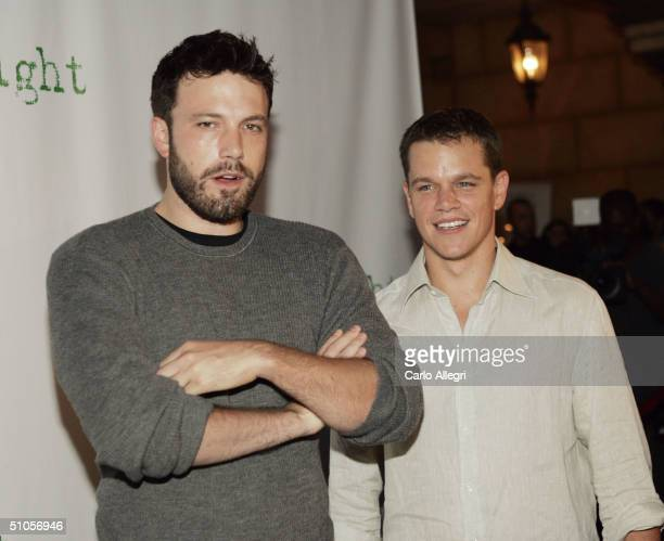 Actors Ben Affleck and Matt Damon attend the announcement of the winners of this year's Project Greenlight on July 13 2004 at The Highlands in...