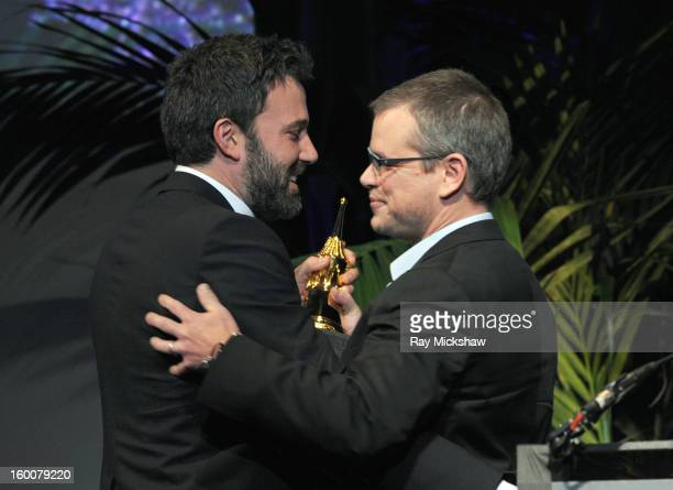 Actors Ben Affleck and Matt Damon attend the Modern Master Award presented To Ben Affleck at the 28th Santa Barbara International Film Festival on...