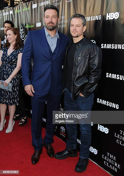 Actors Ben Affleck and Matt Damon attend the Project Greenlight Season 4 Winning Film premiere 'The Leisure Class' presented by Matt Damon Ben...