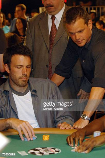 Actors Ben Affleck and Matt Damon competes in the Ante up for Africa poker tournement during the World Series of Poker at the RIO Hotel Casino July 5...