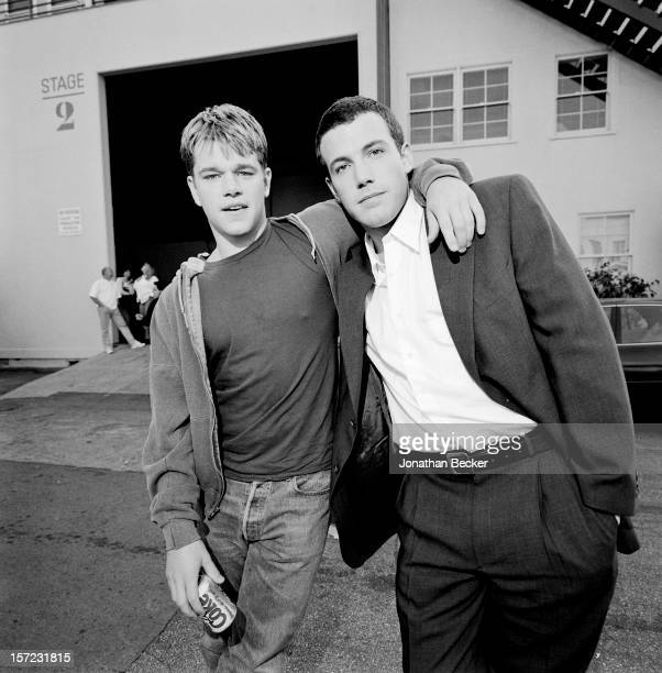 Actors Ben Affleck and Matt Damon is photographed for Vanity Fair Magazine on March 21 1998 at the Creative Artists Agency set in Culver City...