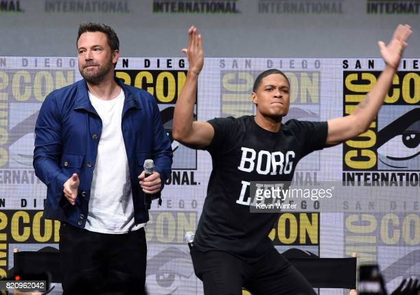 Actors Ben Affleck and Ray Fisher attend the Warner Bros Pictures 'Justice League' Presentation during ComicCon International 2017 at San Diego...