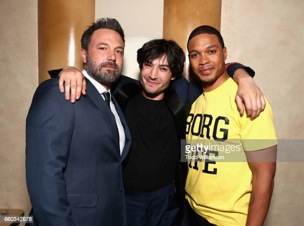 "Actors Ben Affleck Ezra Miller and Ray Fisher at CinemaCon 2017 Warner Bros Pictures Invites You to ""The Big Picture"" an Exclusive Presentation of..."