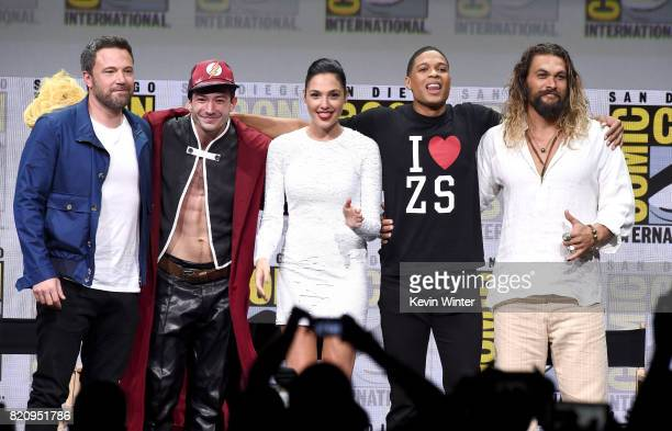 Actors Ben Affleck Ezra Miller Gal Gadot Ray Fisher and Jason Momoa from 'Justice League' attend the Warner Bros Pictures Presentation during...
