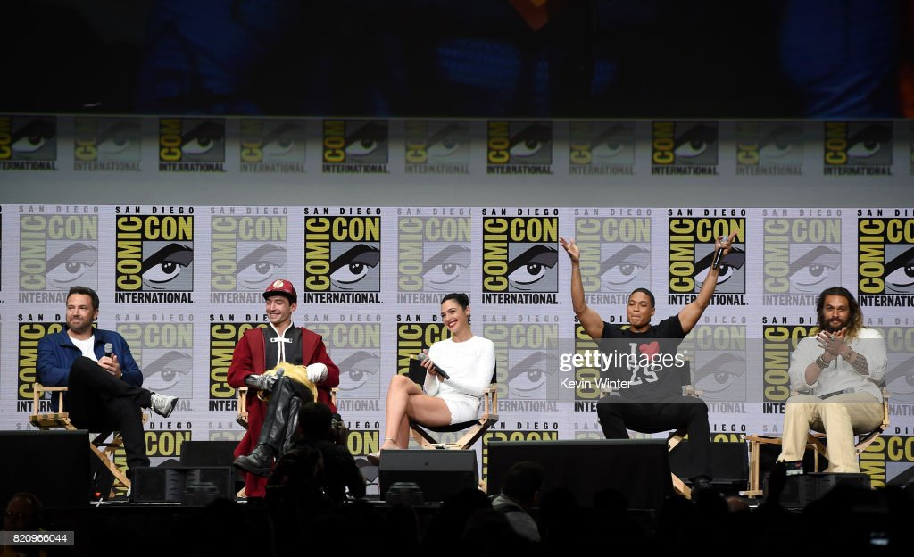 Actors Ben Affleck, Ezra Miller, Gal Gadot, Ray Fisher, and Jason Momoa attend the Warner Bros. Pictures 'Justice League' Presentation during Comic-Con International 2017 at San Diego Convention Center on July 22, 2017 in San Diego, California.