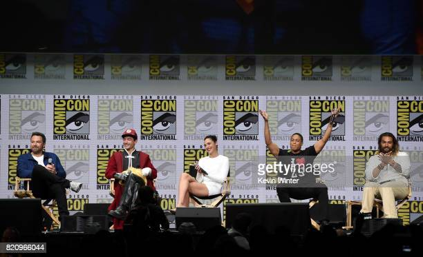 """Actors Ben Affleck, Ezra Miller, Gal Gadot, Ray Fisher, and Jason Momoa attend the Warner Bros. Pictures """"Justice League"""" Presentation during..."""