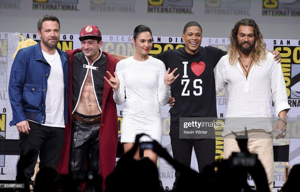 Actors Ben Affleck, Ezra Miller, Gal Gadot, Ray Fisher, and Jason Momoa from 'Justice League' attend the Warner Bros. Pictures Presentation during Comic-Con International 2017 at San Diego Convention Center on July 22, 2017 in San Diego, California.