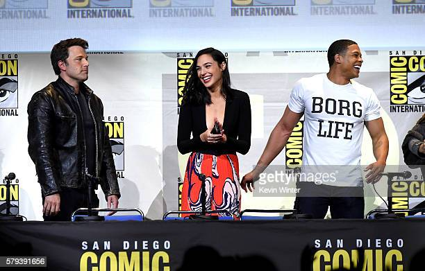 Actors Ben Affleck Gal Gadot and Ray Fisher attend the Warner Bros 'Justice League' Presentation during ComicCon International 2016 at San Diego...