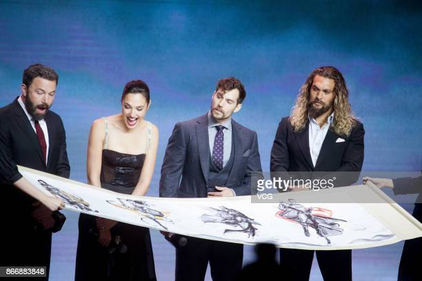 Actors Ben Affleck Gal Gadot Henry Cavill and Jason Momoa attend 'Justice League' premiere at 798 Art Zone on October 26 2017 in Beijing China