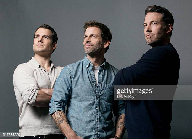 Actors Ben Affleck Henry Cavill and director Zack Snyder of 'Batman vs Superman' are photographed for Los Angeles Times on February 29 2016 in Los...