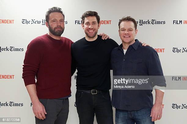 Actors Ben Affleck John Krasinski and Matt Damon attend the Film Independent NYC Live Read at NYU Skirball Center on October 7 2016 in New York City