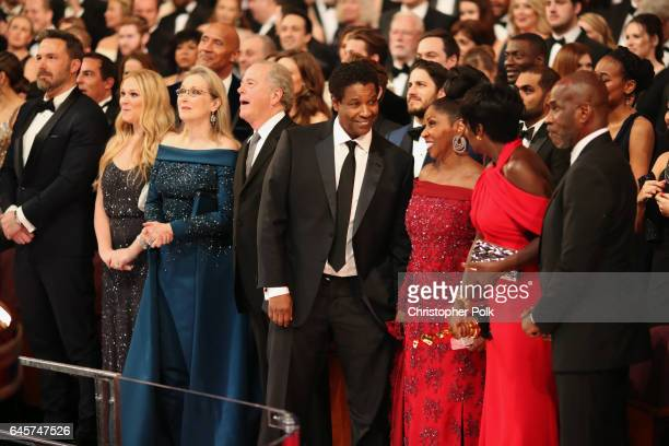 Actors Ben Affleck Meryl Streep Denzel Washington Denzel Washington Viola Davis and Julius Tennon attend the 89th Annual Academy Awards at Hollywood...