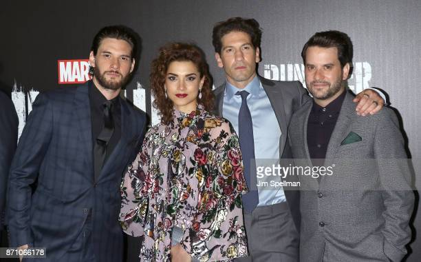 Actors Ben Barnes Amber Rose Revah Jon Bernthal and Michael Nathanson attend the 'Marvel's The Punisher' New York premiere at AMC Loews 34th Street...