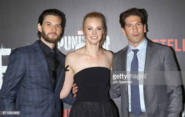Actors Ben Barnes Deborah Ann Woll and Jon Bernthal attend the 'Marvel's The Punisher' New York premiere at AMC Loews 34th Street 14 theater on...