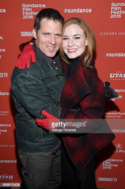 """Actors Ben Browder and Madisen Beaty attend the """"Outlaws & Angels"""" Premiere during the 2016 Sundance Film Festival at Library Center Theater on..."""