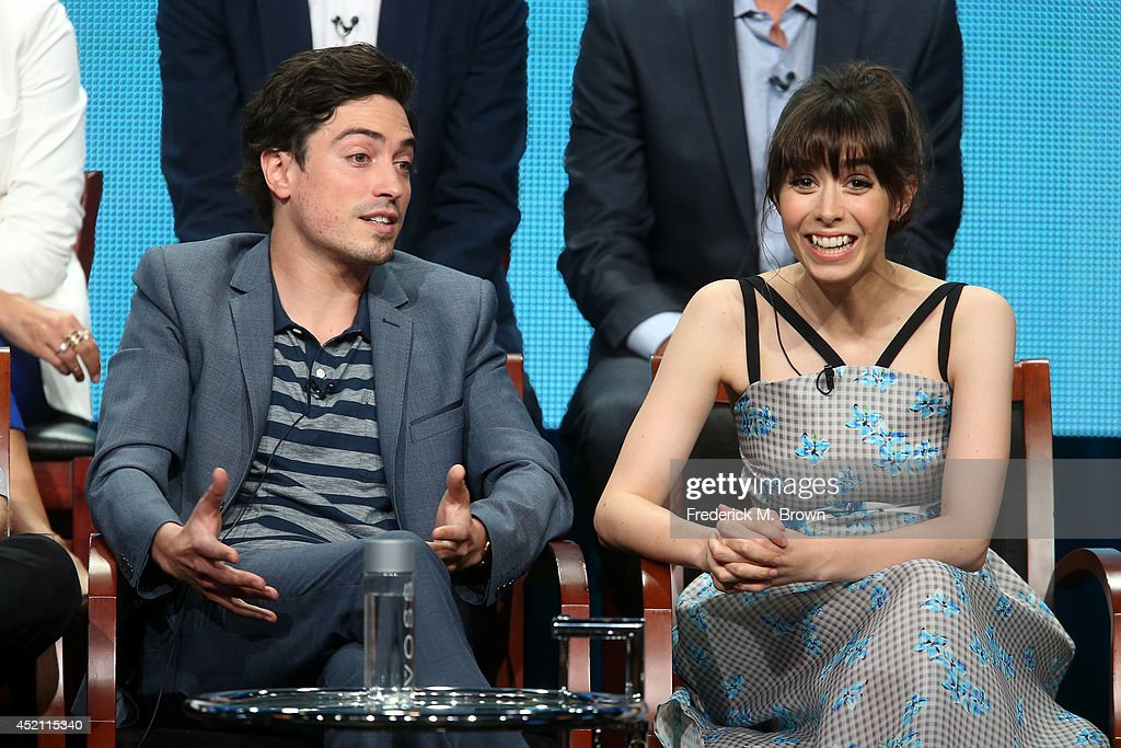 Actors Ben Feldman and Cristin Milioti speak onstage at the 'A To Z' panel during the NBCUniversal portion of the 2014 Summer Television Critics Association at The Beverly Hilton Hotel on July 13, 2014 in Beverly Hills, California.