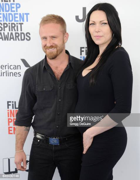 Actors Ben Foster and Laura Prepon arrive at the 2017 Film Independent Spirit Awards on February 25 2017 in Santa Monica California