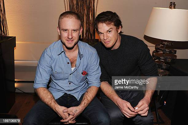 Actors Ben Foster and Michael C Hall attend the Grey Goose Blue Door Kill Your Darlings Cocktail Party on January 18 2013 in Park City Utah