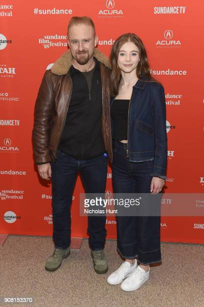 Actors Ben Foster and Thomasin McKenzie attend the 'Leave No Trace' Premiere during the 2018 Sundance Film Festival at Eccles Center Theatre on...