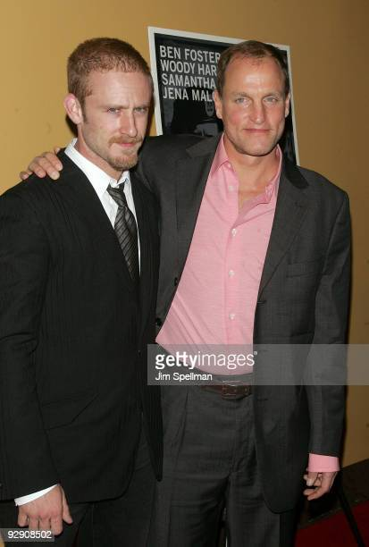 Actors Ben Foster and Woody Harrelson attend The Messenger Premiere at Clearview Chelsea Cinemas on November 8 2009 in New York City