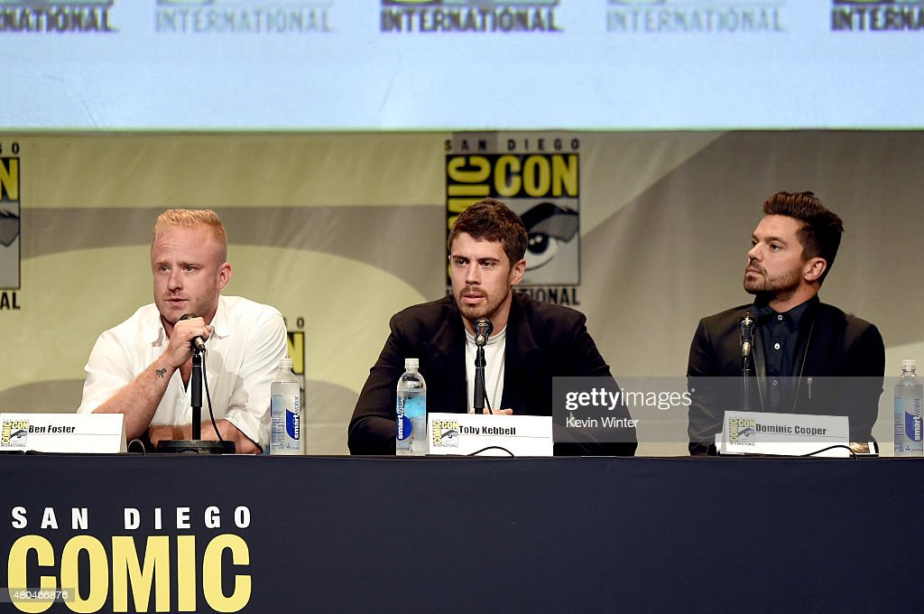 Actors Ben Foster, Toby Kebbell and Dominic Cooper speak onstage at the Legendary Pictures panel during Comic-Con International 2015 the at the San Diego Convention Center on July 11, 2015 in San Diego, California.