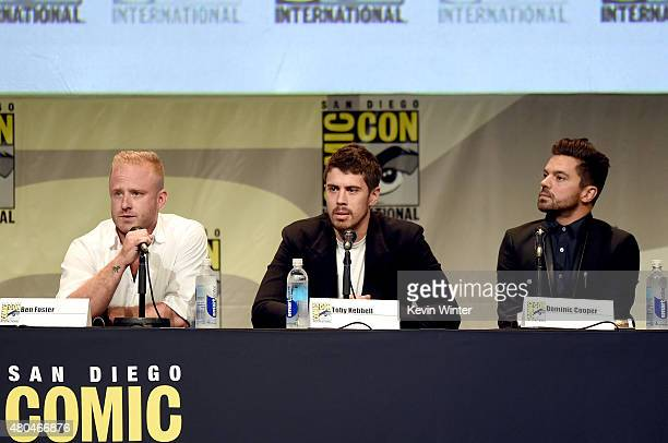 Actors Ben Foster, Toby Kebbell and Dominic Cooper speak onstage at the Legendary Pictures panel during Comic-Con International 2015 the at the San...