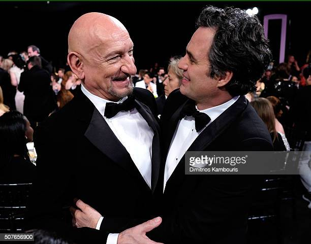 Actors Ben Kinglsey and Mark Ruffalo embrace during The 22nd Annual Screen Actors Guild Awards at The Shrine Auditorium on January 30 2016 in Los...