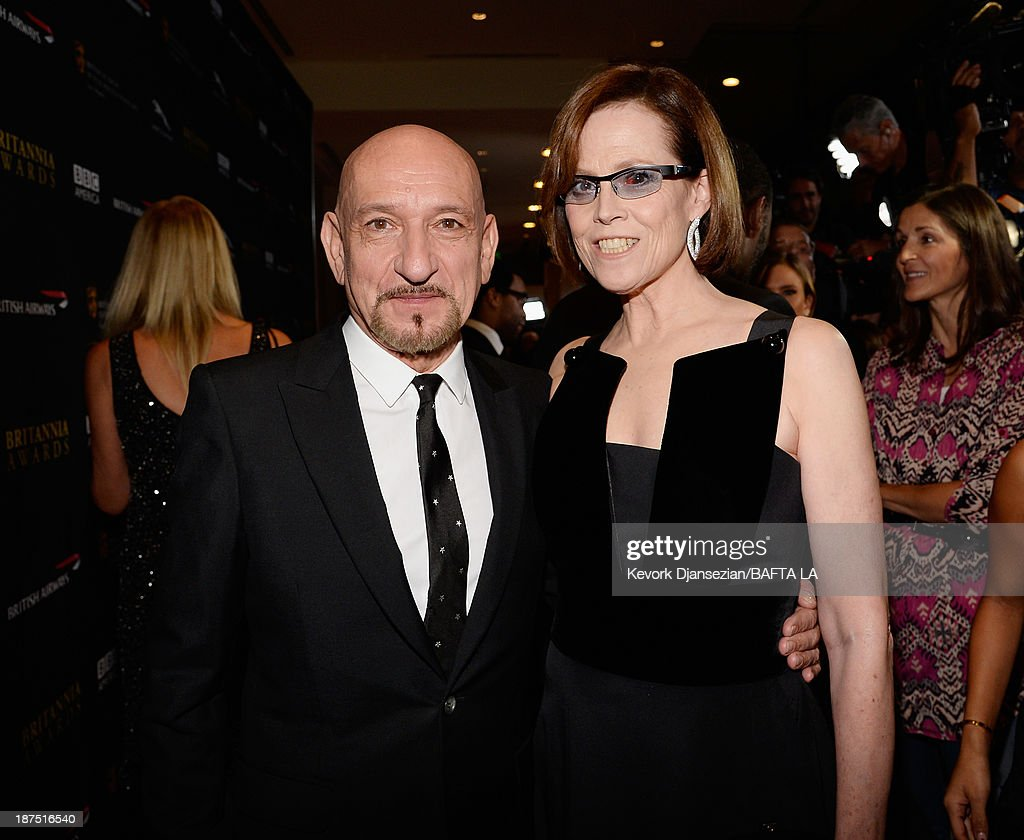 Actors Ben Kingsley (L) and Sigourney Weaver attend the 2013 BAFTA LA Jaguar Britannia Awards presented by BBC America at The Beverly Hilton Hotel on November 9, 2013 in Beverly Hills, California.