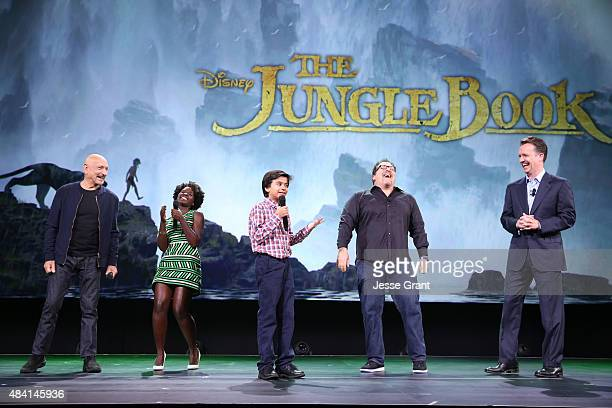 Actors Ben Kingsley Lupita Nyong'o Neel Sethi and director Jon Favreau of THE JUNGLE BOOK and President of Walt Disney Studios Motion Picture...