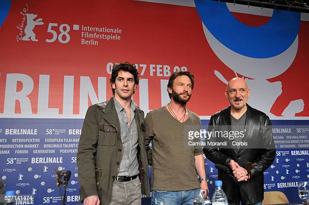 Actors Ben Kingsley Thaomas Kretshmann and Eduardo Noriega attend a press conference for the film Transsiberian during the 58th Berlinale Film...